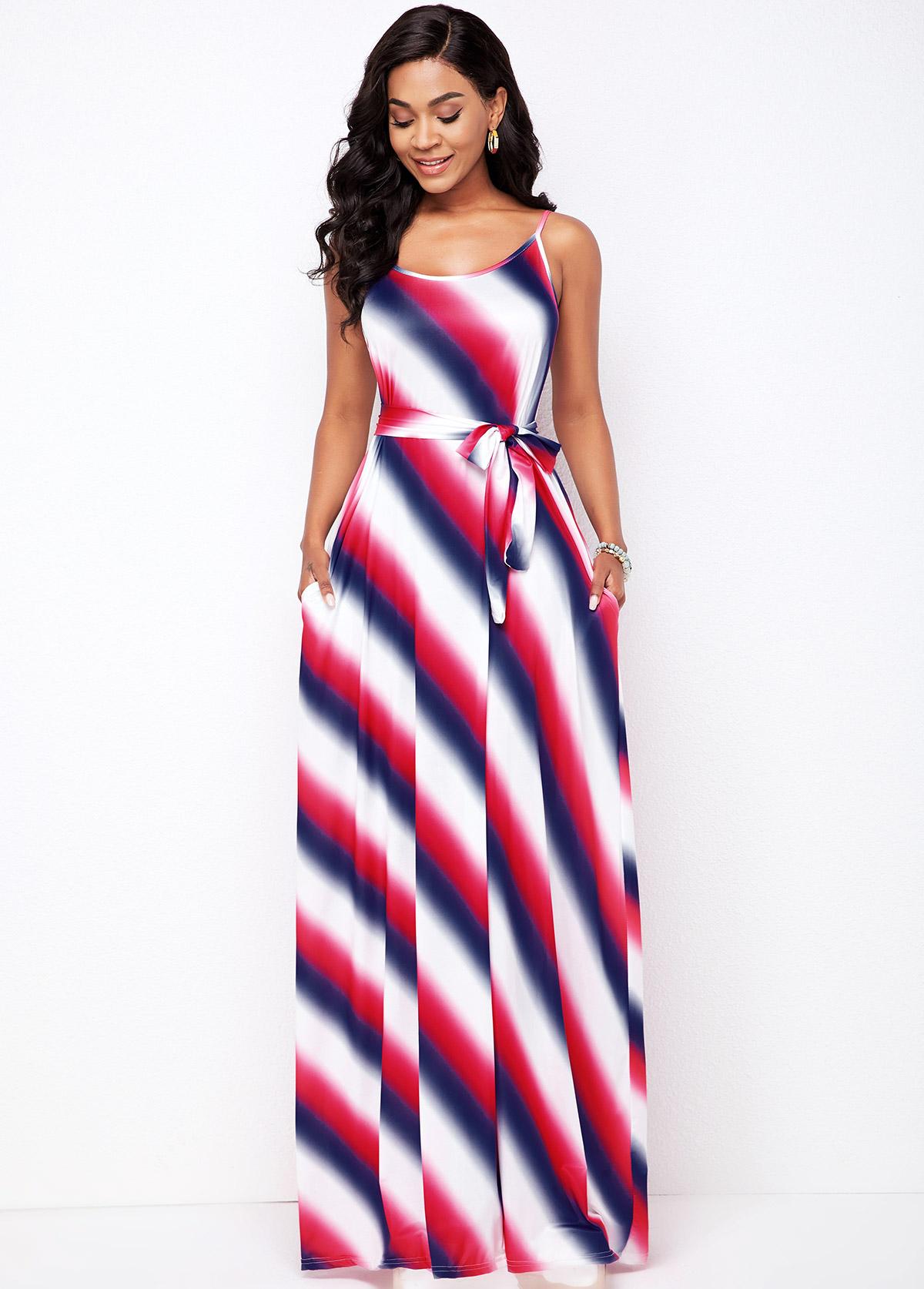 Spaghetti Strap Striped Pocket Detail Dress