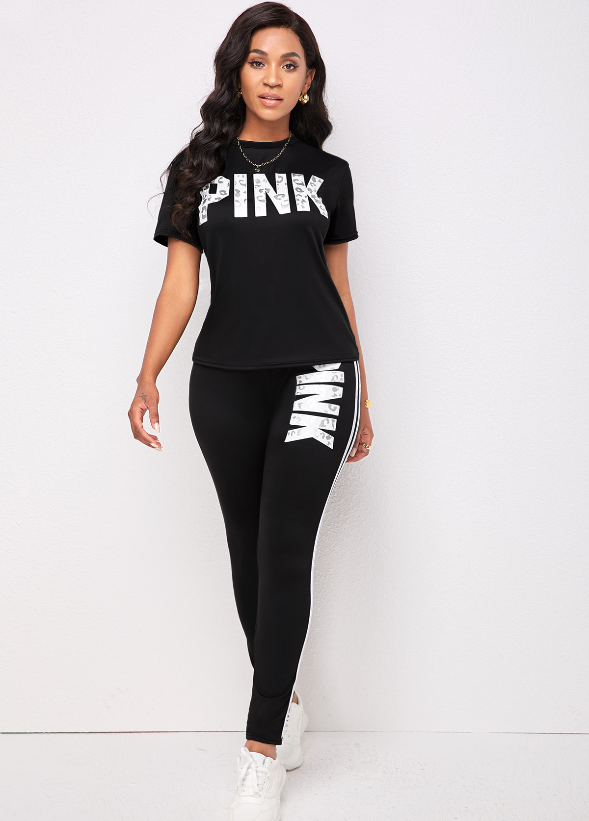 Short Sleeve Letter Print Black Sweatsuit