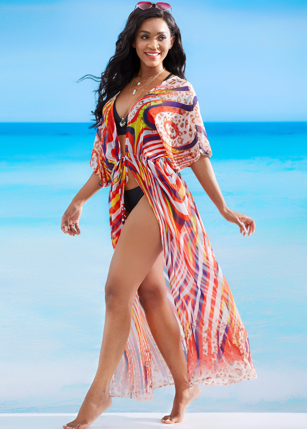 Drawstring Waist Colorful Print Cover Up