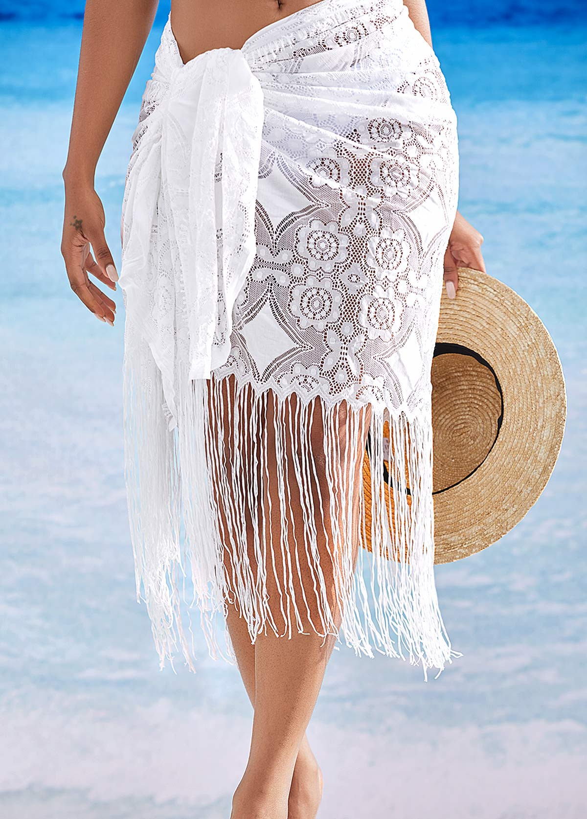 Knot Detail Tassel Hem Cover Up