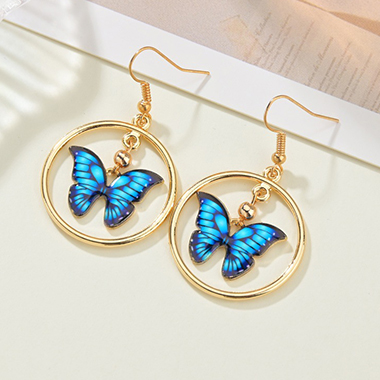 Gold Metal Butterfly Design Earring Set