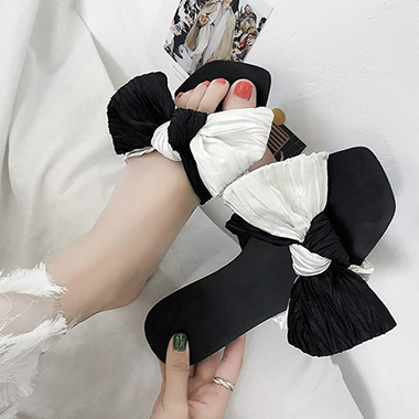 1 Pair Bowknot Color Block Slippers