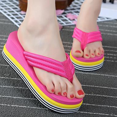 1 Pair Thick Sole Contrast Flip Flops