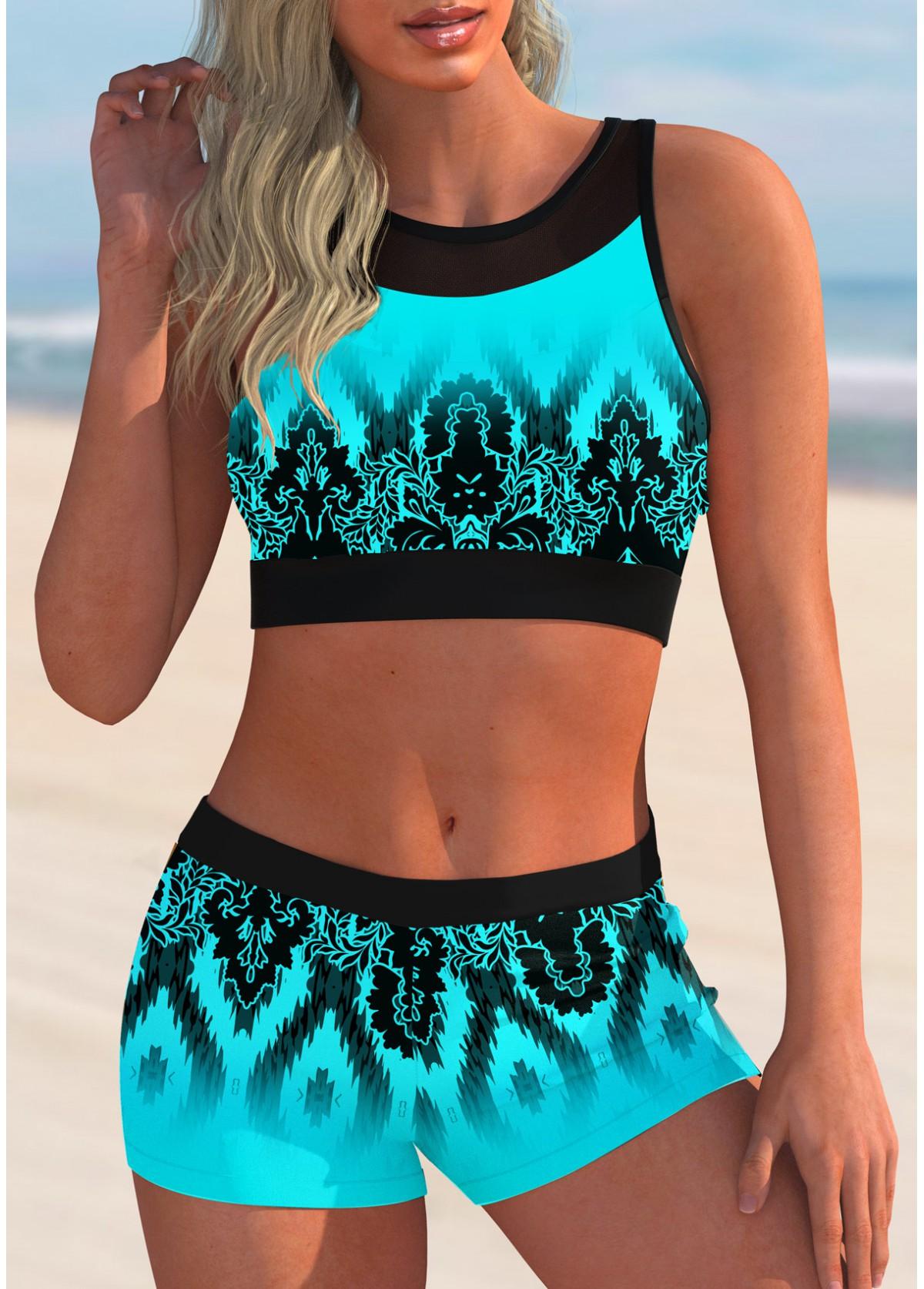 ROTITA Mesh Stitching Tribal Print Bikini Set