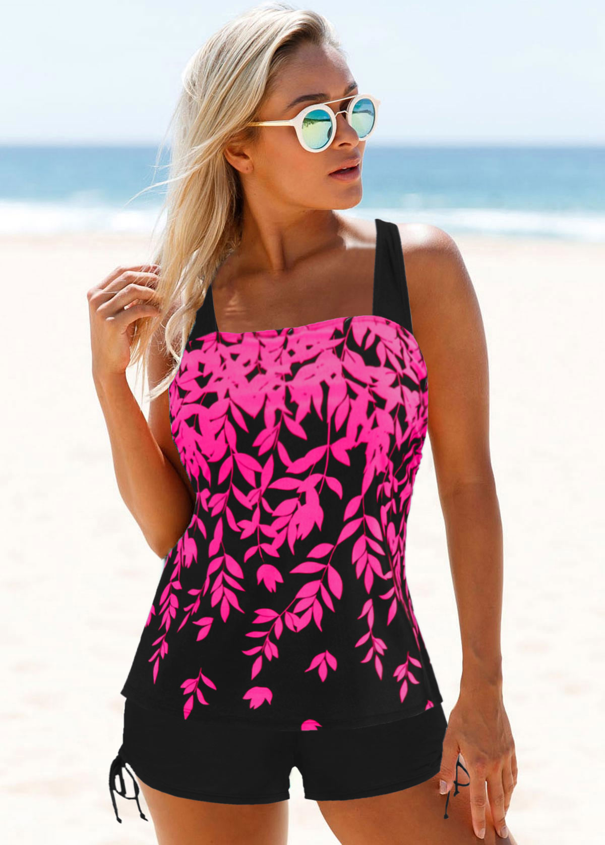 Drawstring Side Wide Strap Printed Tankini Set