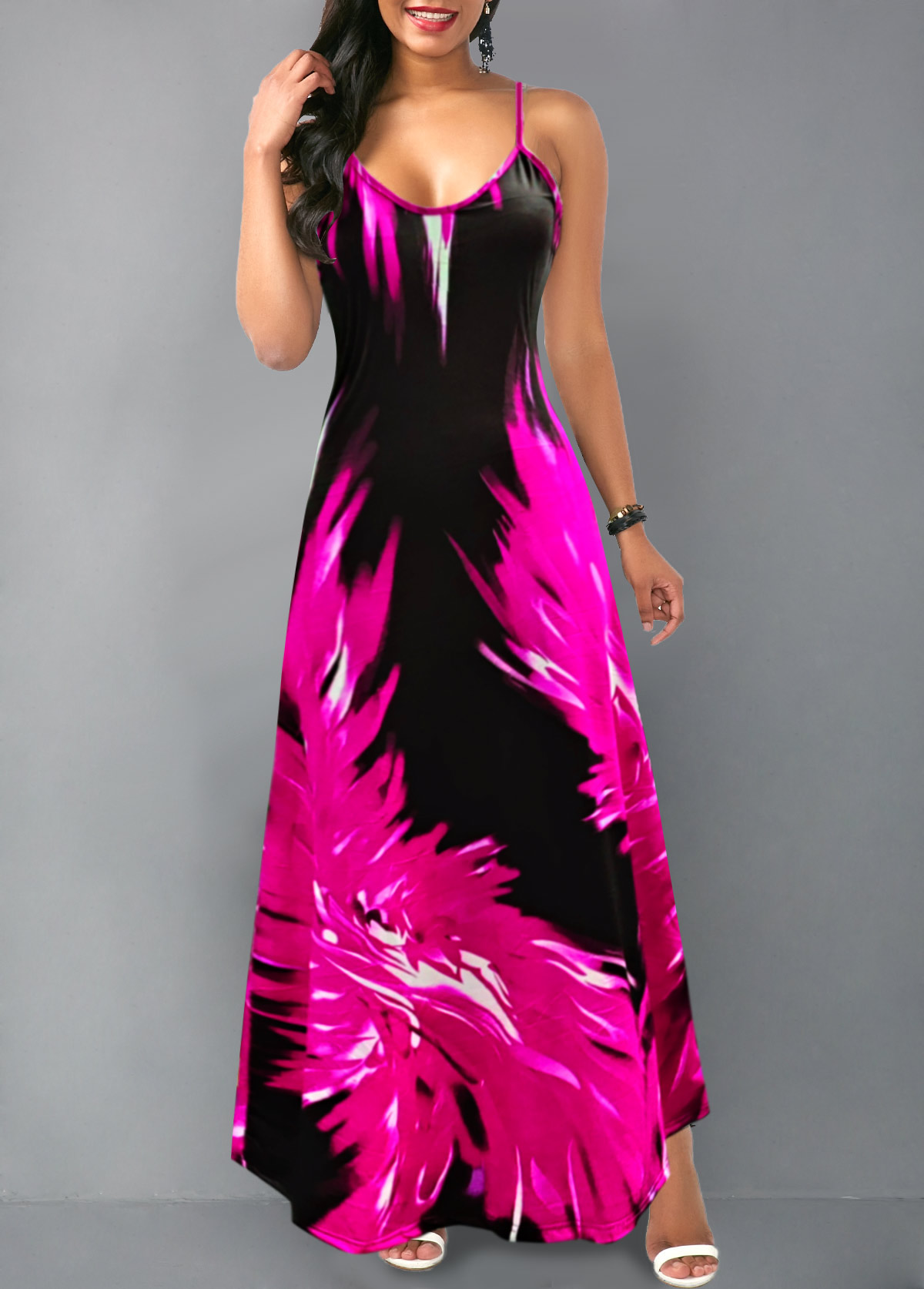 Flame Print Spaghetti Strap Maxi Dress