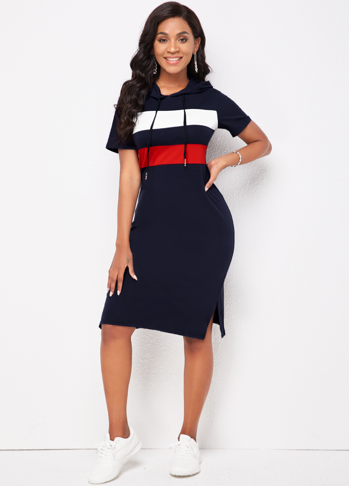 Striped Hooded Collar Short Sleeve Dress