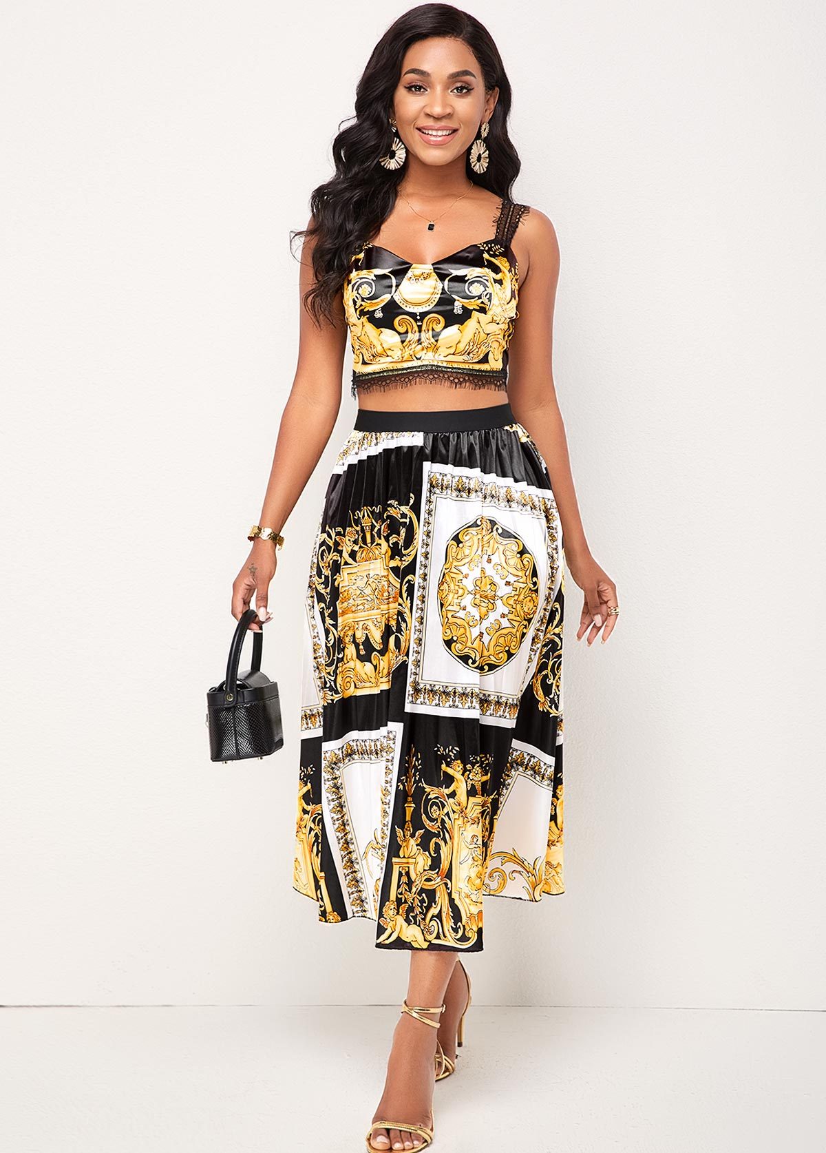 Lace Stitching Baroque Print Camisole Top and Skirt