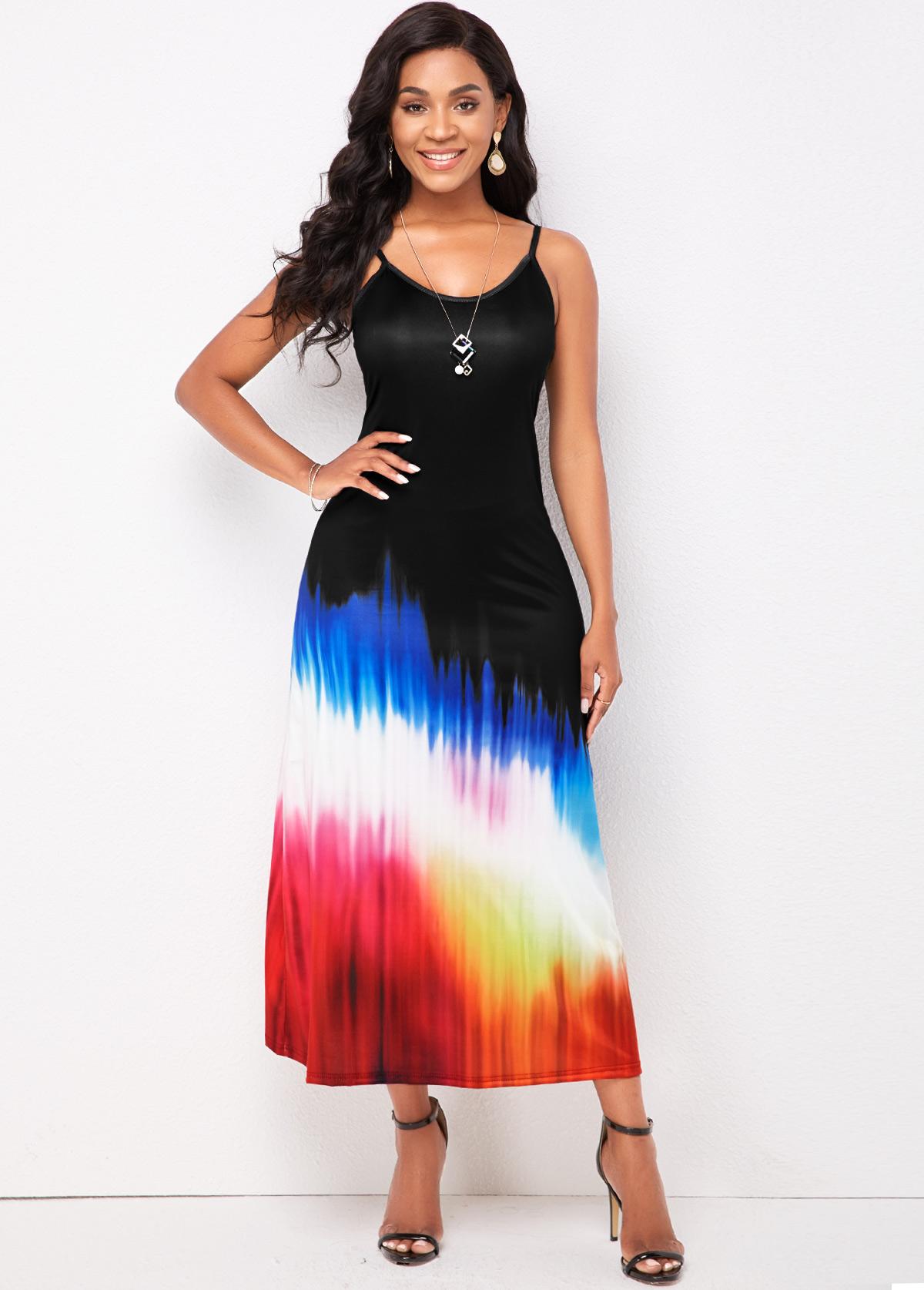 Spaghetti Strap Colorful Print Maxi Dress