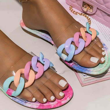 1 Pair Rainbow Color Chain Design Slippers