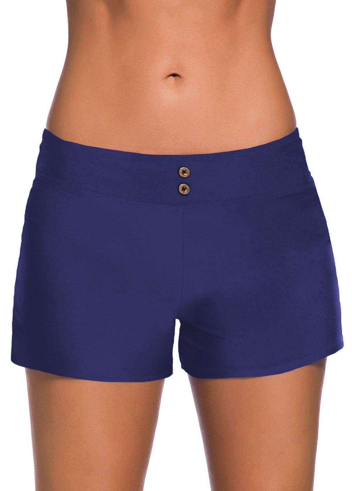 Button Detail Elastic Waist Mid Waist Swim Shorts