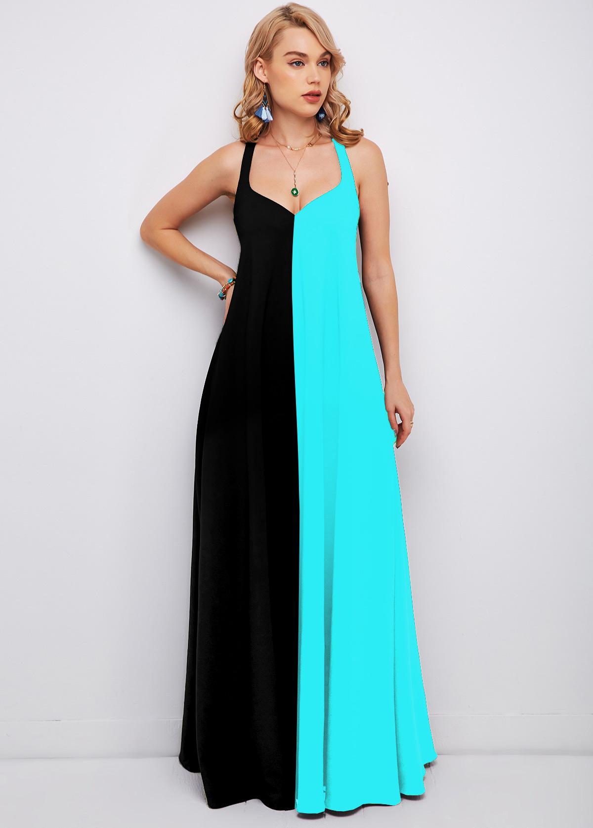 ROTITA Maxi Color Block Spaghetti Strap Dress