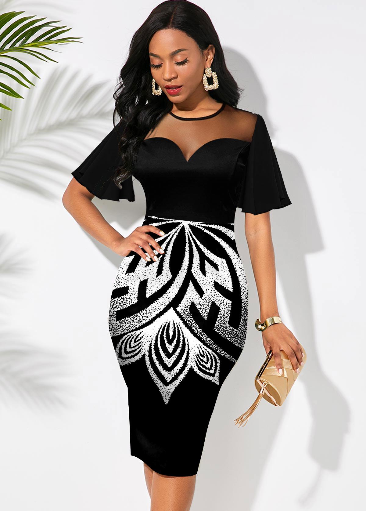 ROTITA Short Sleeve Printed Round Neck Dress