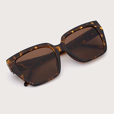 1 Pair Brown Square Frame TR Sunglasses