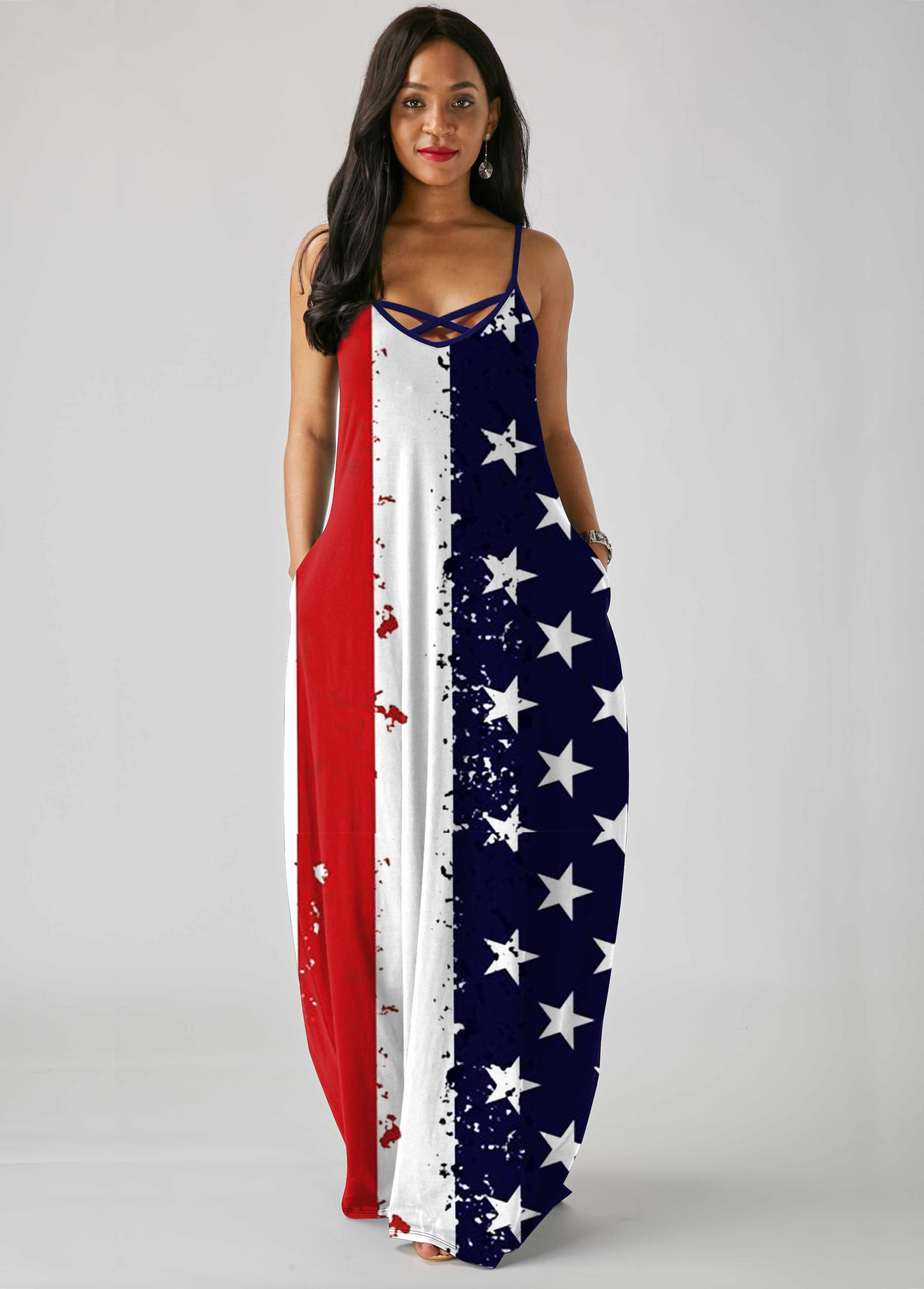 ROTITA Spaghetti Strap American Flag Print Pocket Maxi Dress