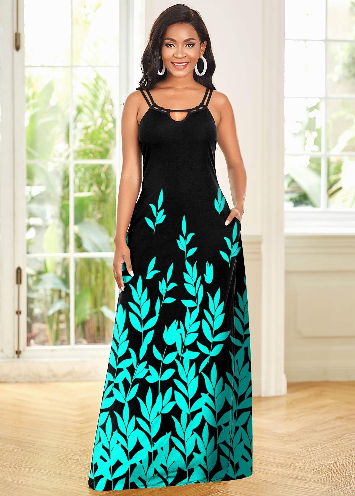 ROTITA Double Straps Leaf Print Maxi Dress