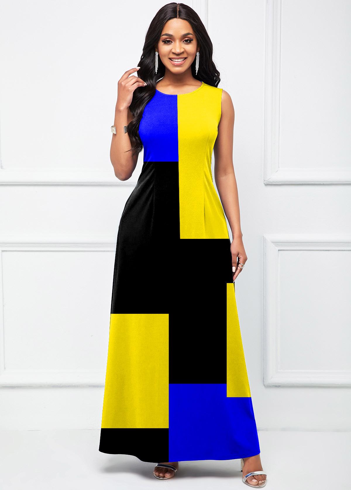 ROTITA Sleeveless Geometric Print Round Neck Dress