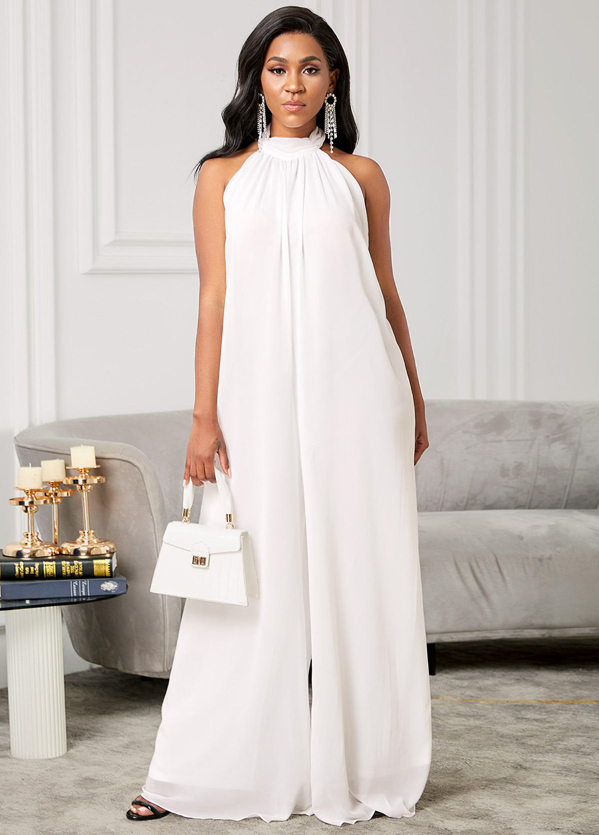 Open Back Chiffon Solid Loose Jumpsuit