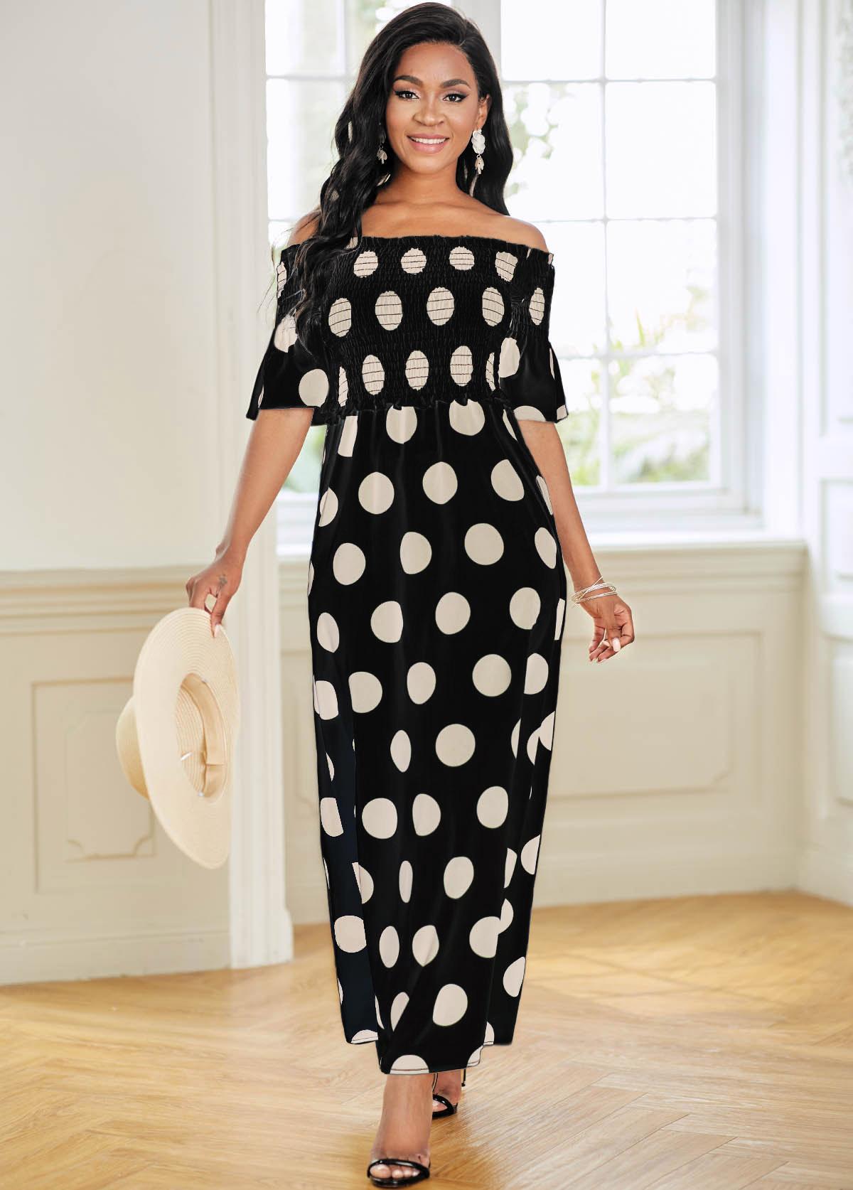 Polka Dot Off Shoulder Shirred Dress