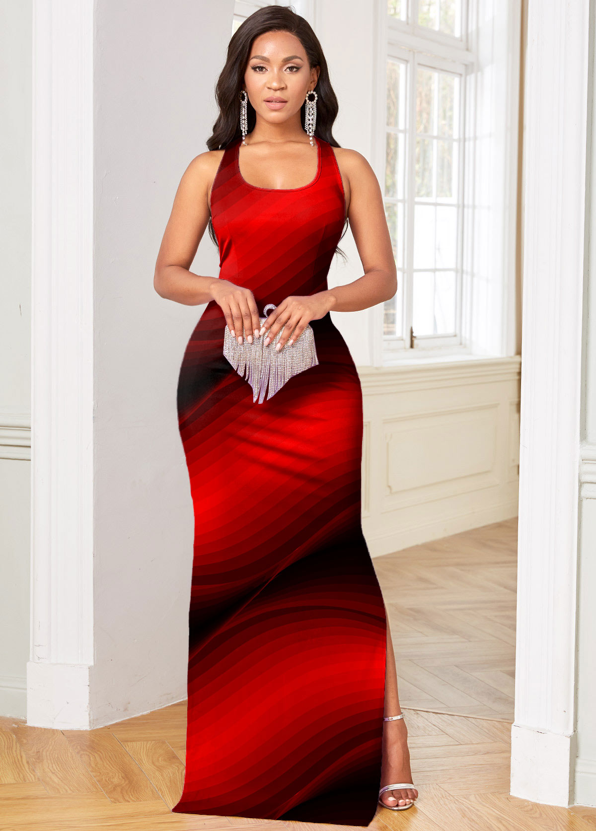 ROTITA Ombre High Slit Cutout Detail Sleeveless Bodycon Dress