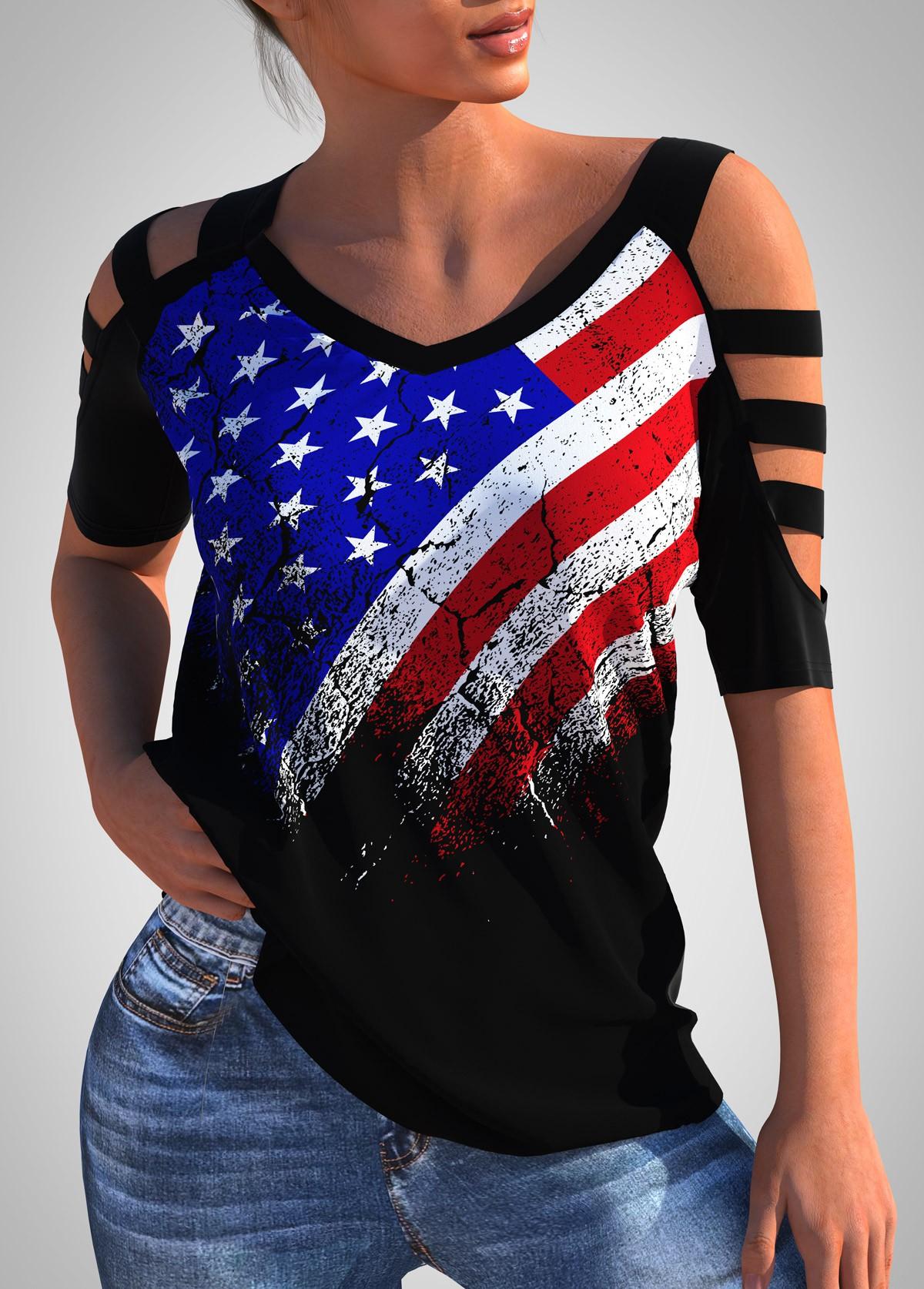 ROTITA Ladder Cutout American Flag Print T Shirt