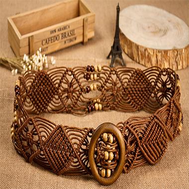 Embellished Bead Hand Knitted Tribal Belt