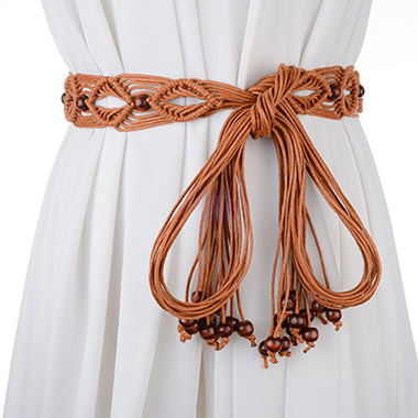 Embellished Bead Hand Knitted Brown Belt