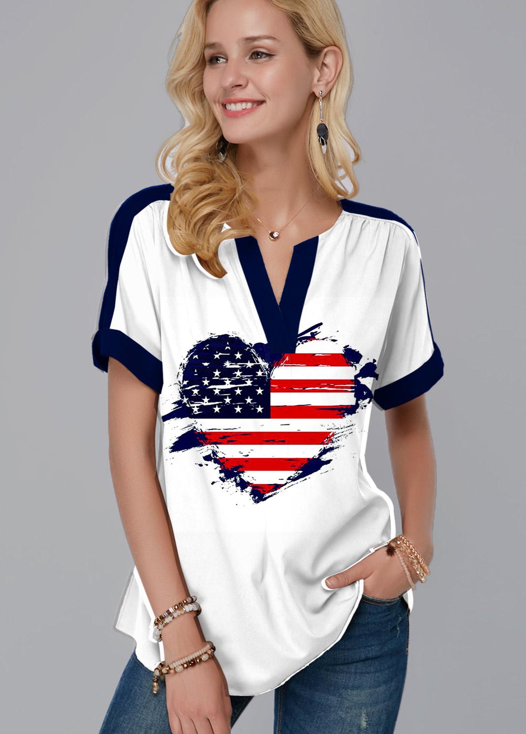 ROTITA Split Neck American Flag Print Blouse