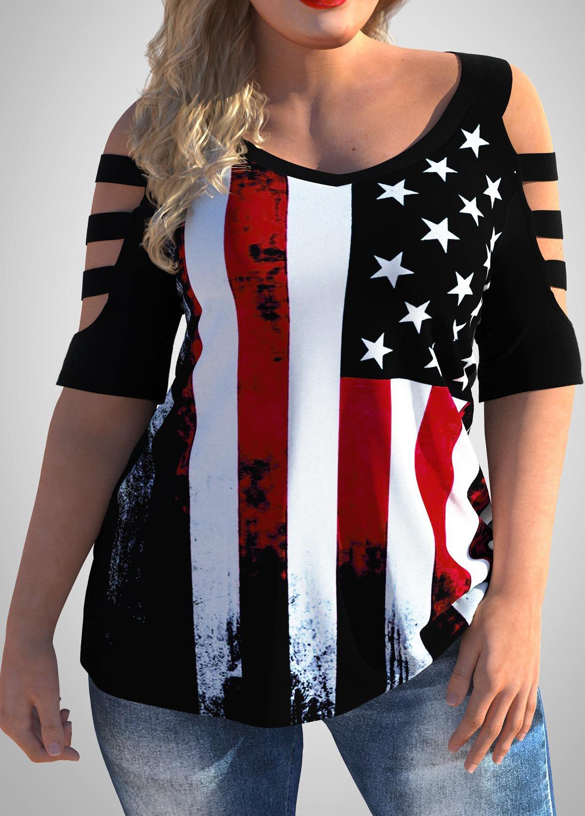 ROTITA American Flag Print Plus Size Cold Shoulder T Shirt