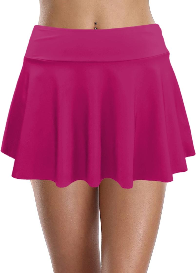 ROTITA Ruffle Hem High Waist Swim Skirt