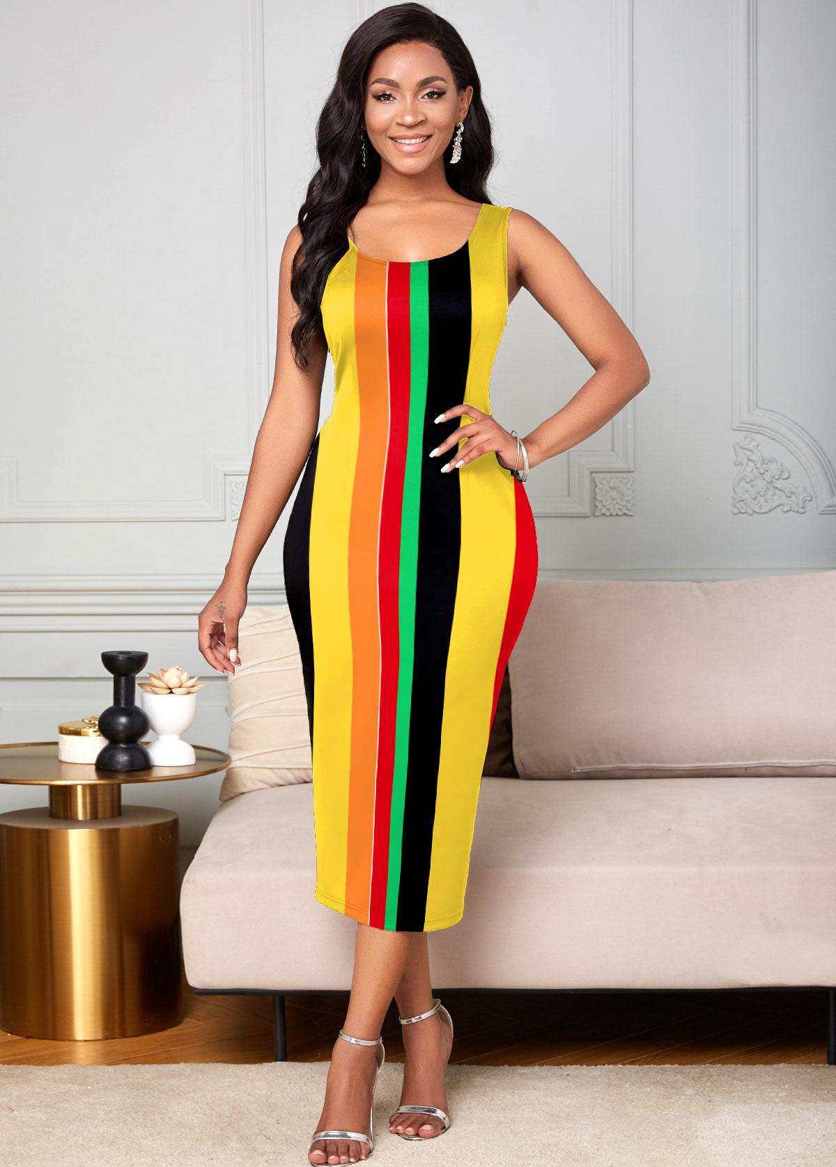 ROTITA Sleeveless Rainbow Stripe Round Neck Dress