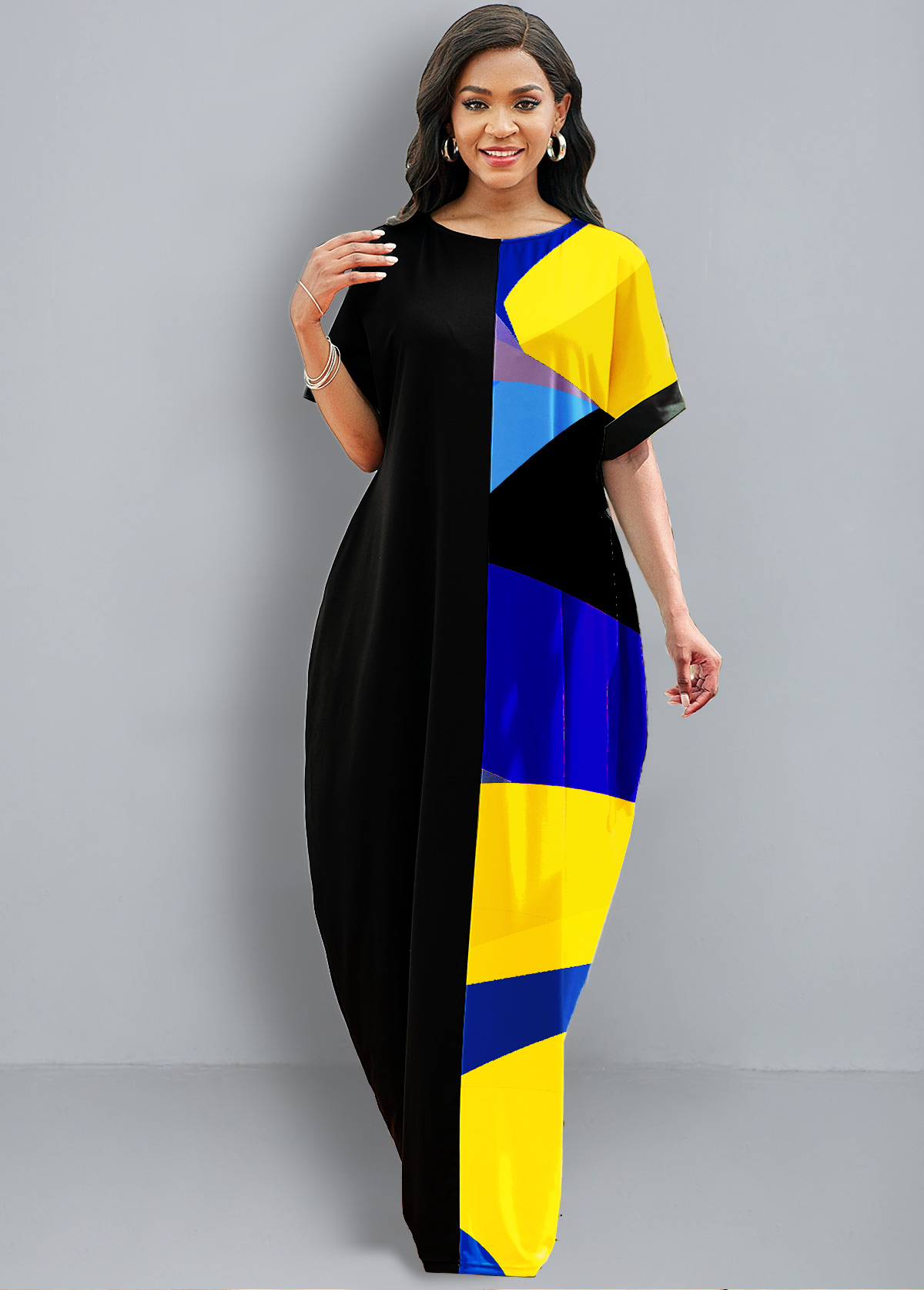 ROTITA Half Sleeve Geometric Print Pocket Dress
