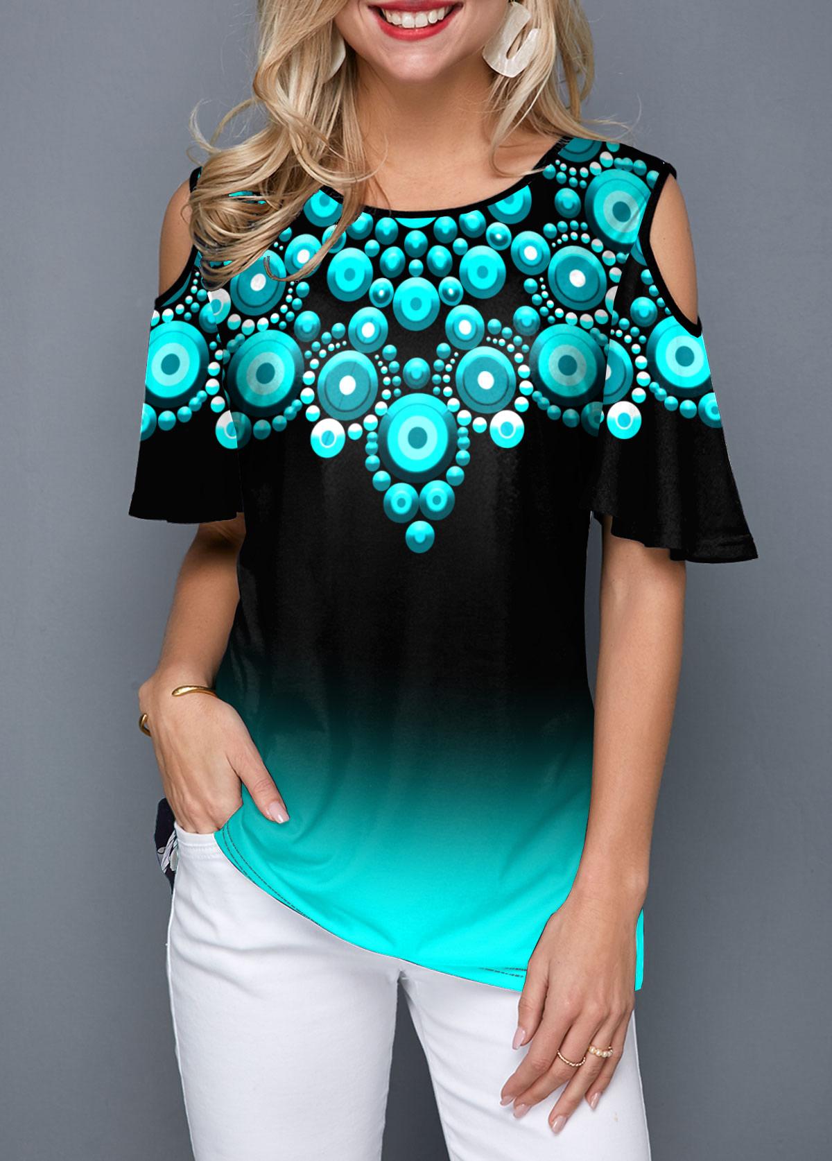 ROTITA Cold Shoulder Tribal Print Half Sleeve T Shirt