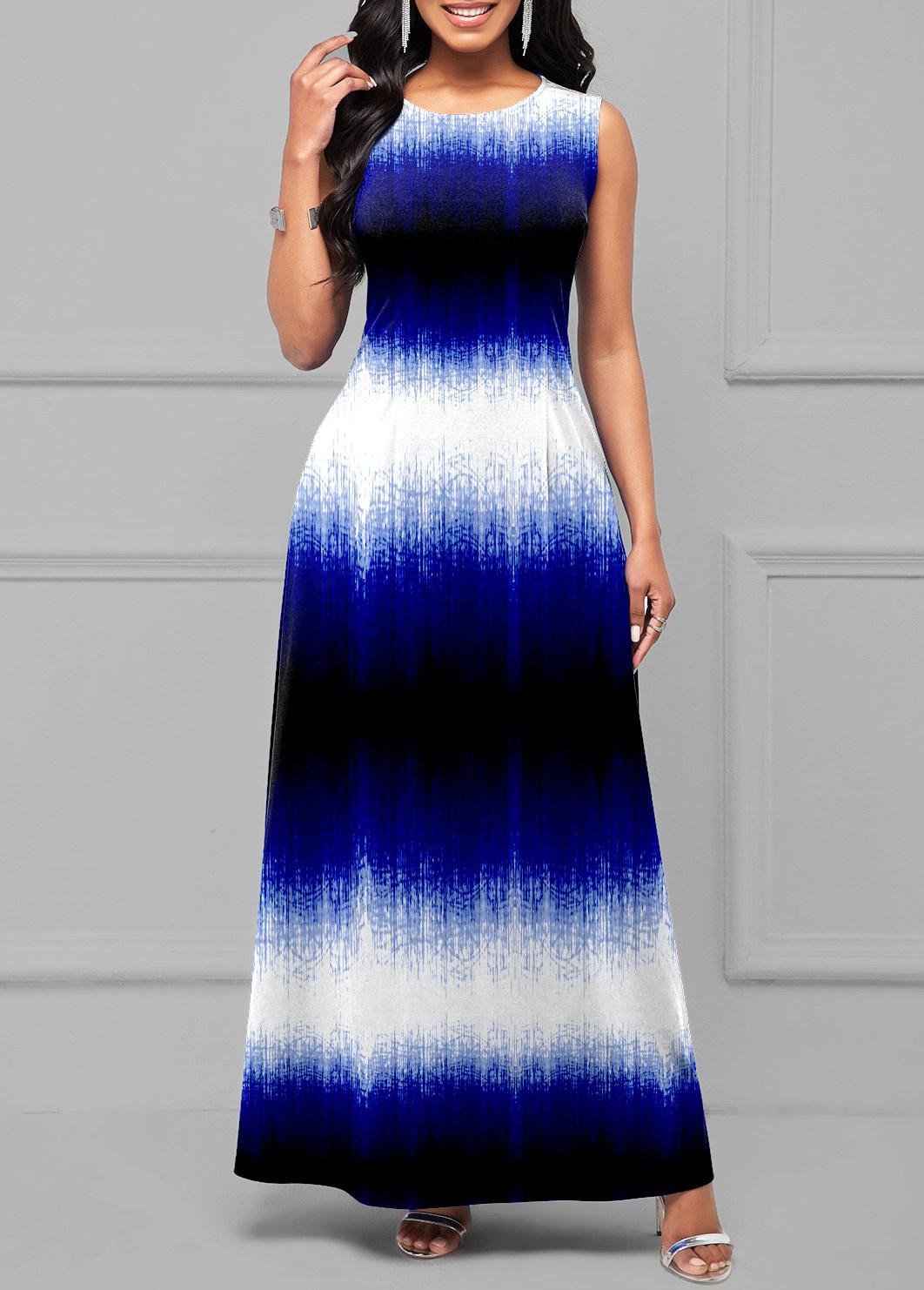 ROTITA Round Neck Ombre Sleeveless Maxi Dress