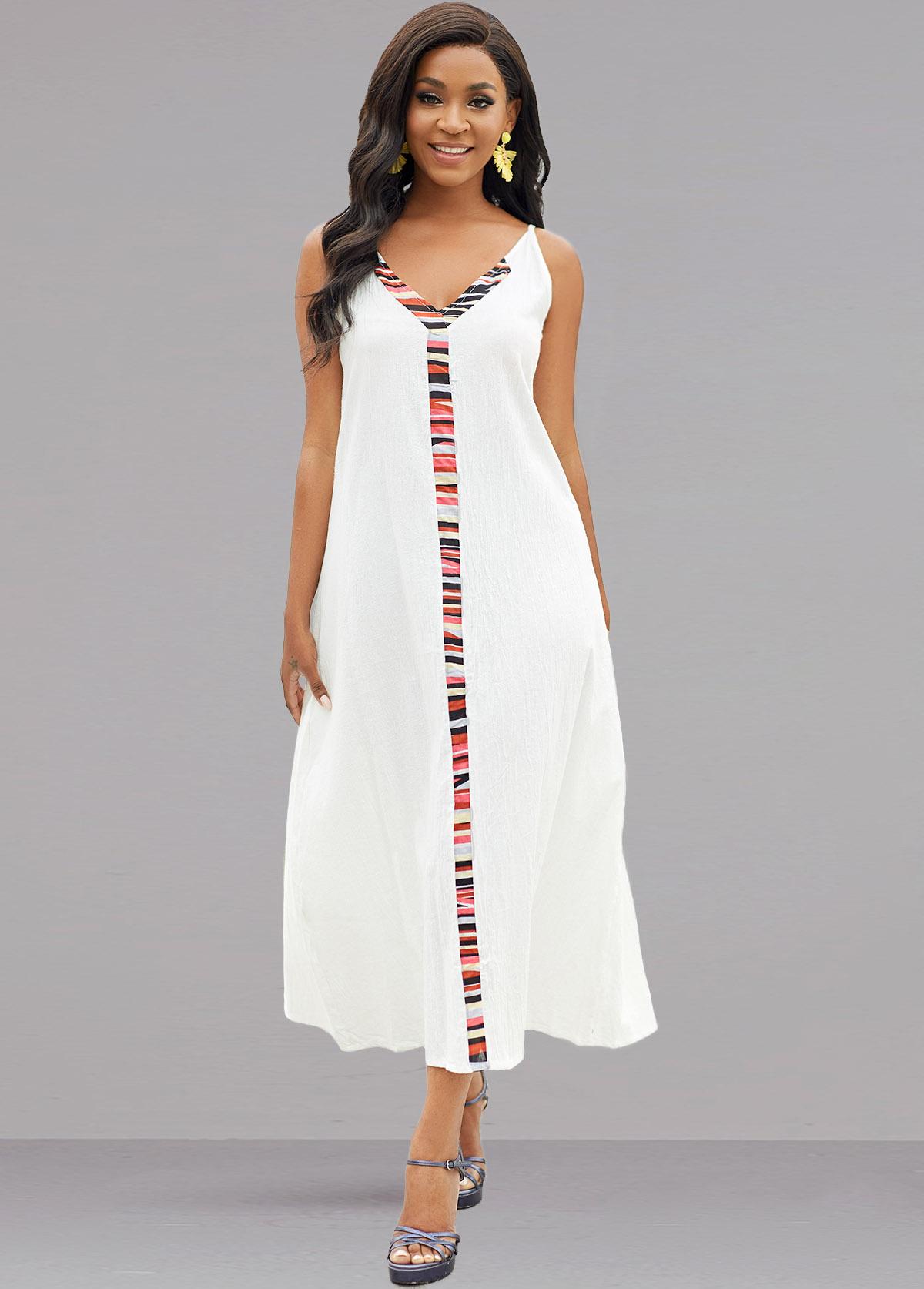 Rainbow Stripe V Neck Sleeveless Dress