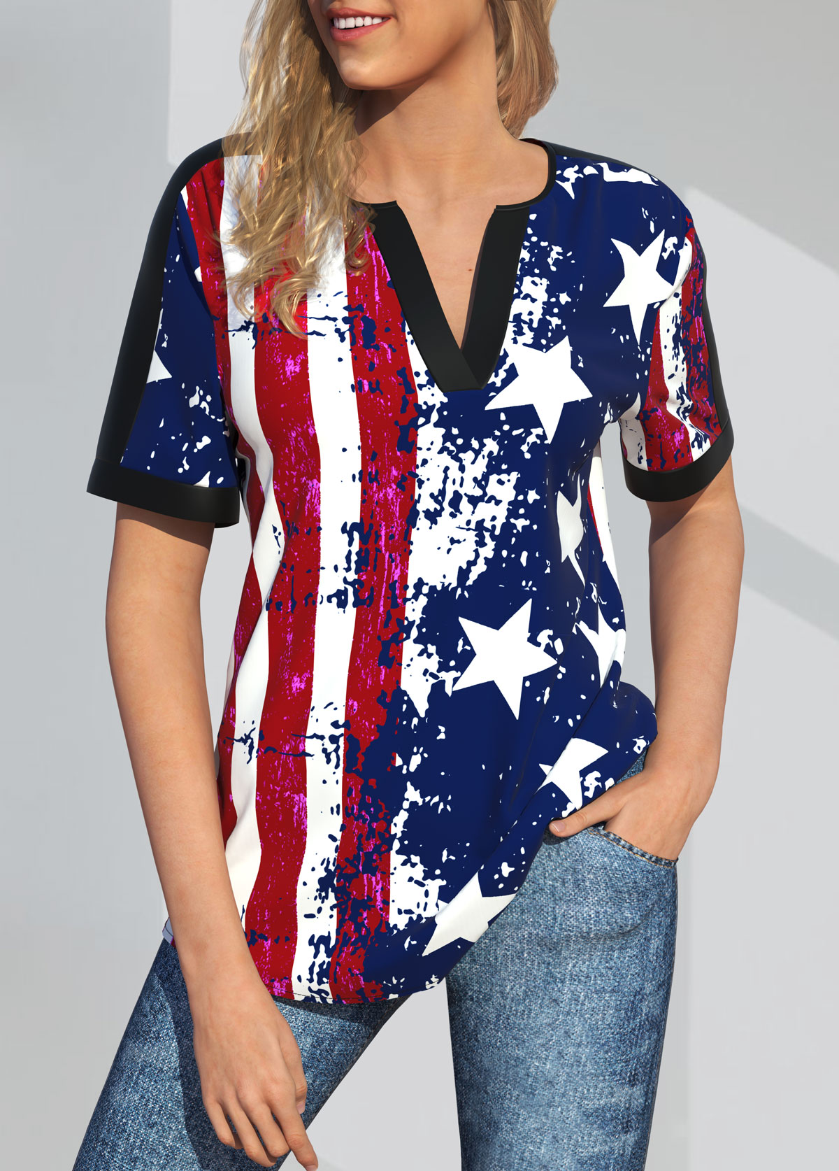 ROTITA Split Neck American Flag Print Short Sleeve Blouse