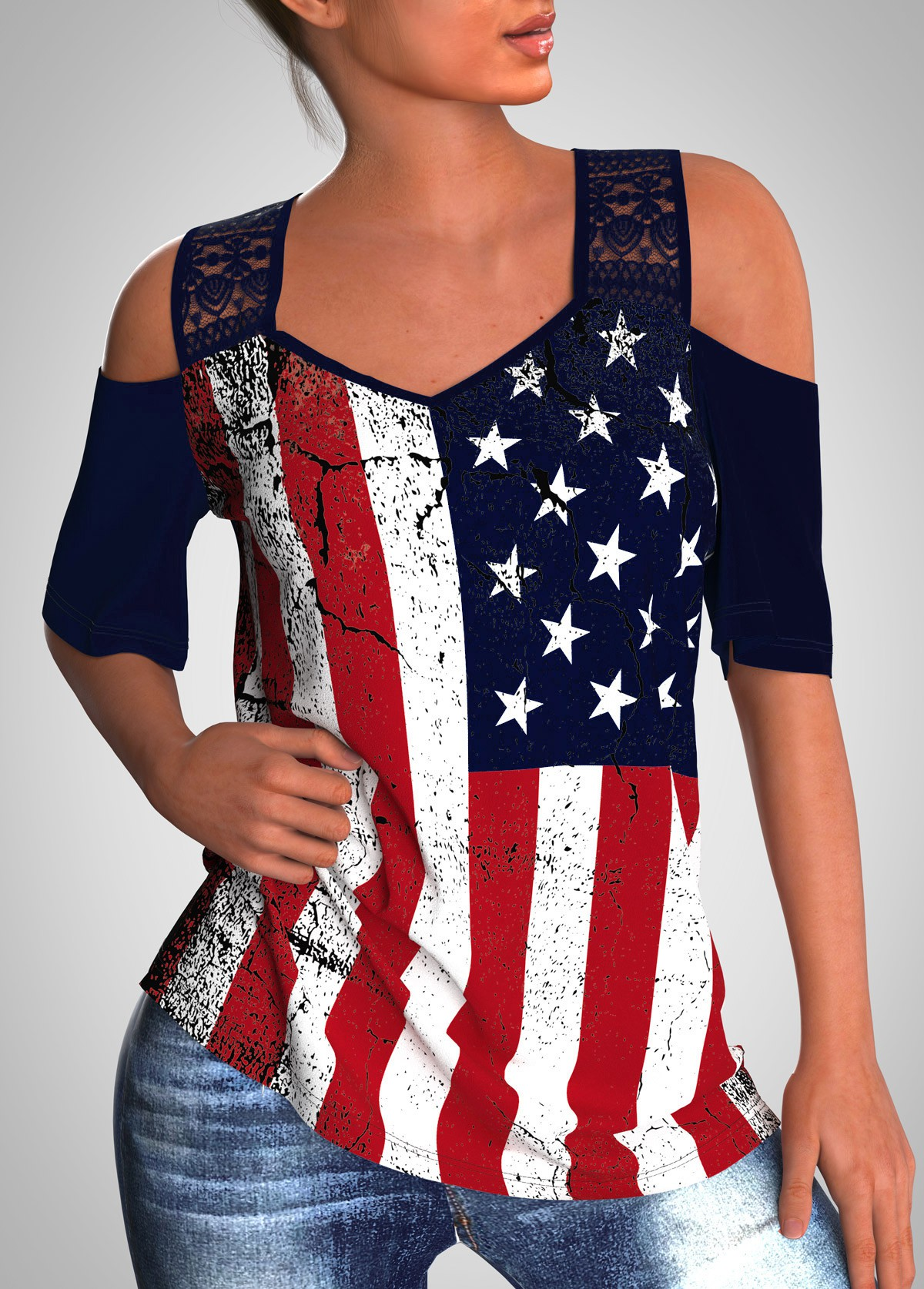 ROTITA Cold Shoulder Lace Stitching American Flag Print T Shirt
