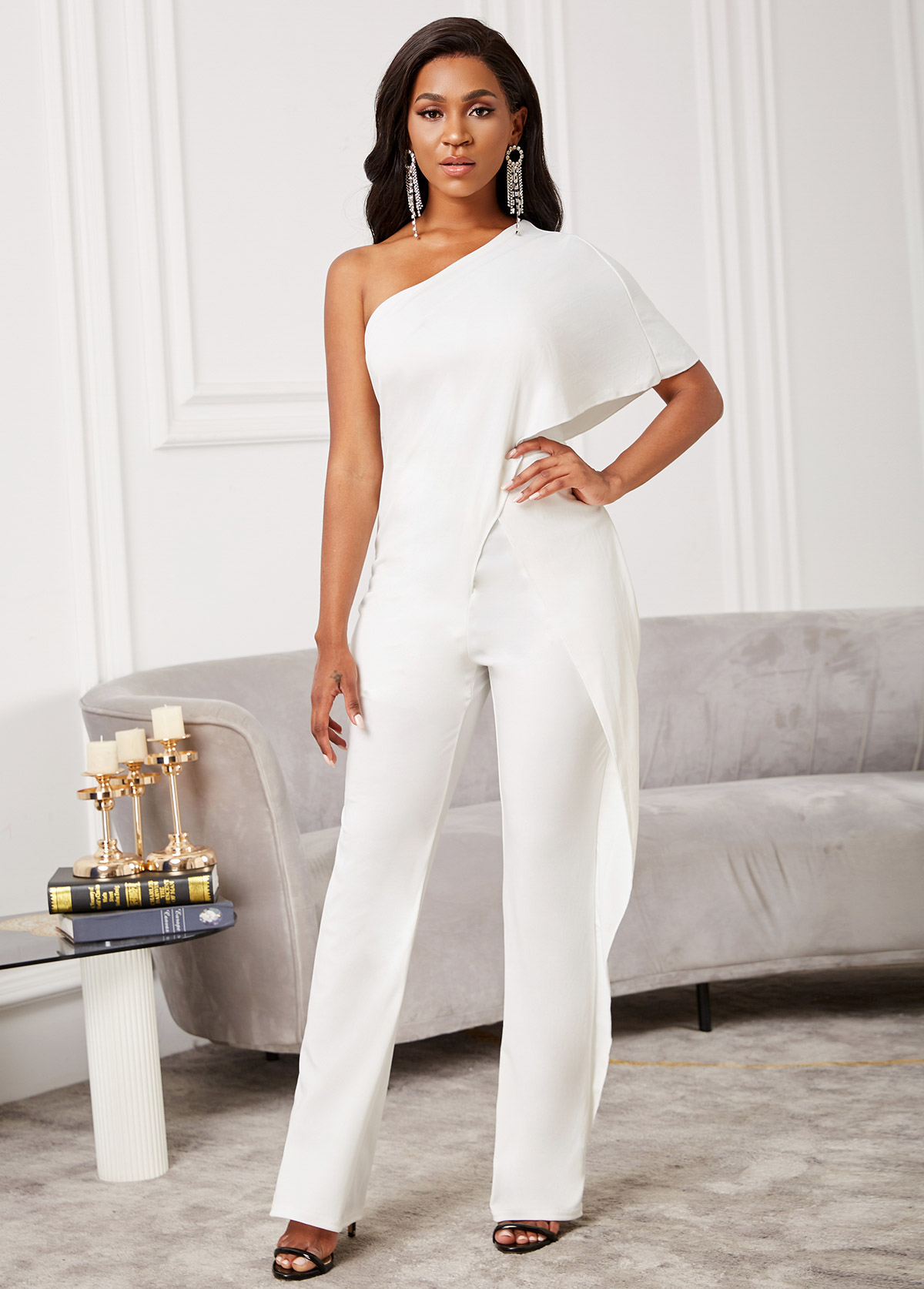 Skew Neck One Shoulder Solid Jumpsuit