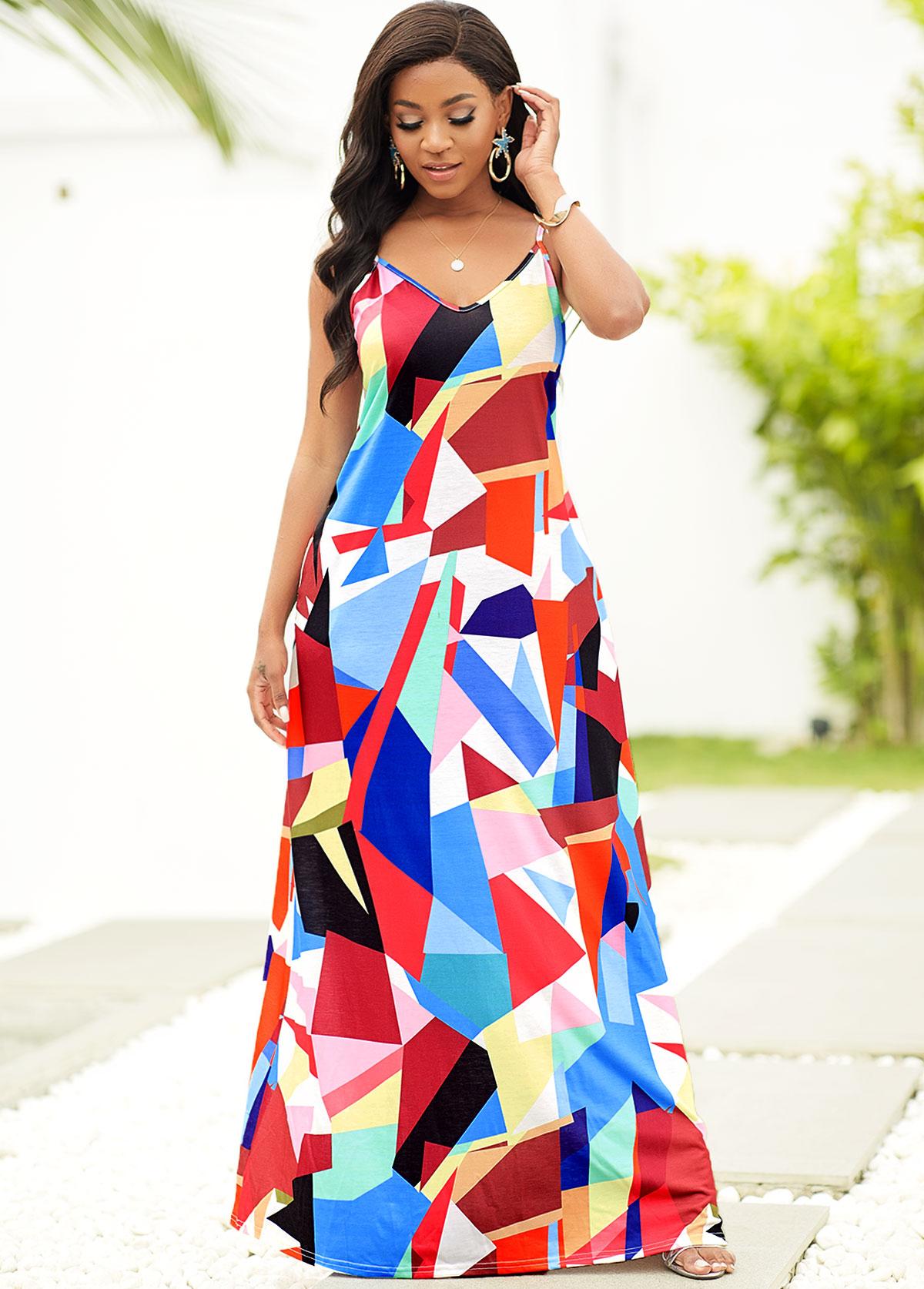 Spaghetti Strap Geometric Print Pocket Dress