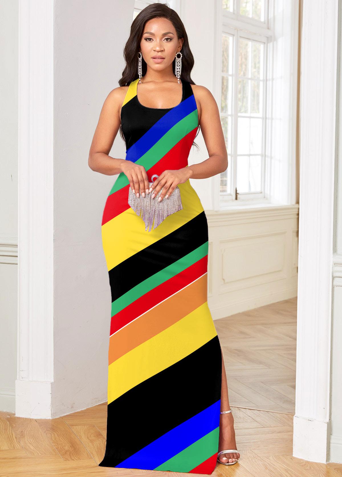 ROTITA Side Slit Cutout Back Striped Dress