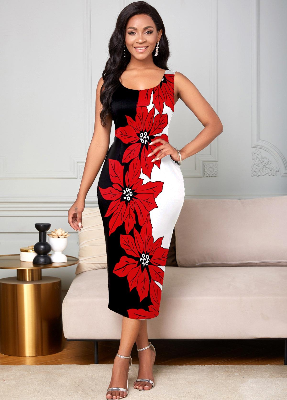 ROTITA Round Neck Floral Print Tank Dress