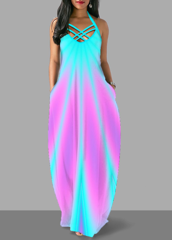 ROTITA Colorful Cross Strap Halter Maxi Dress