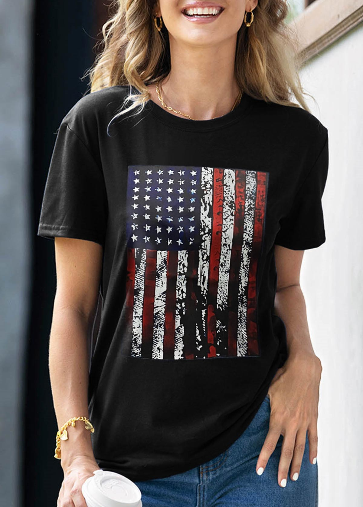 Round Neck American Flag Print Short Sleeve T Shirt