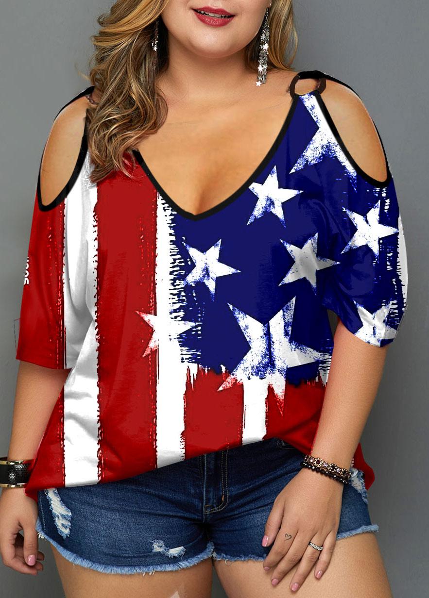 ROTITA Plus Size Cold Shoulder American Flag Print T Shirt