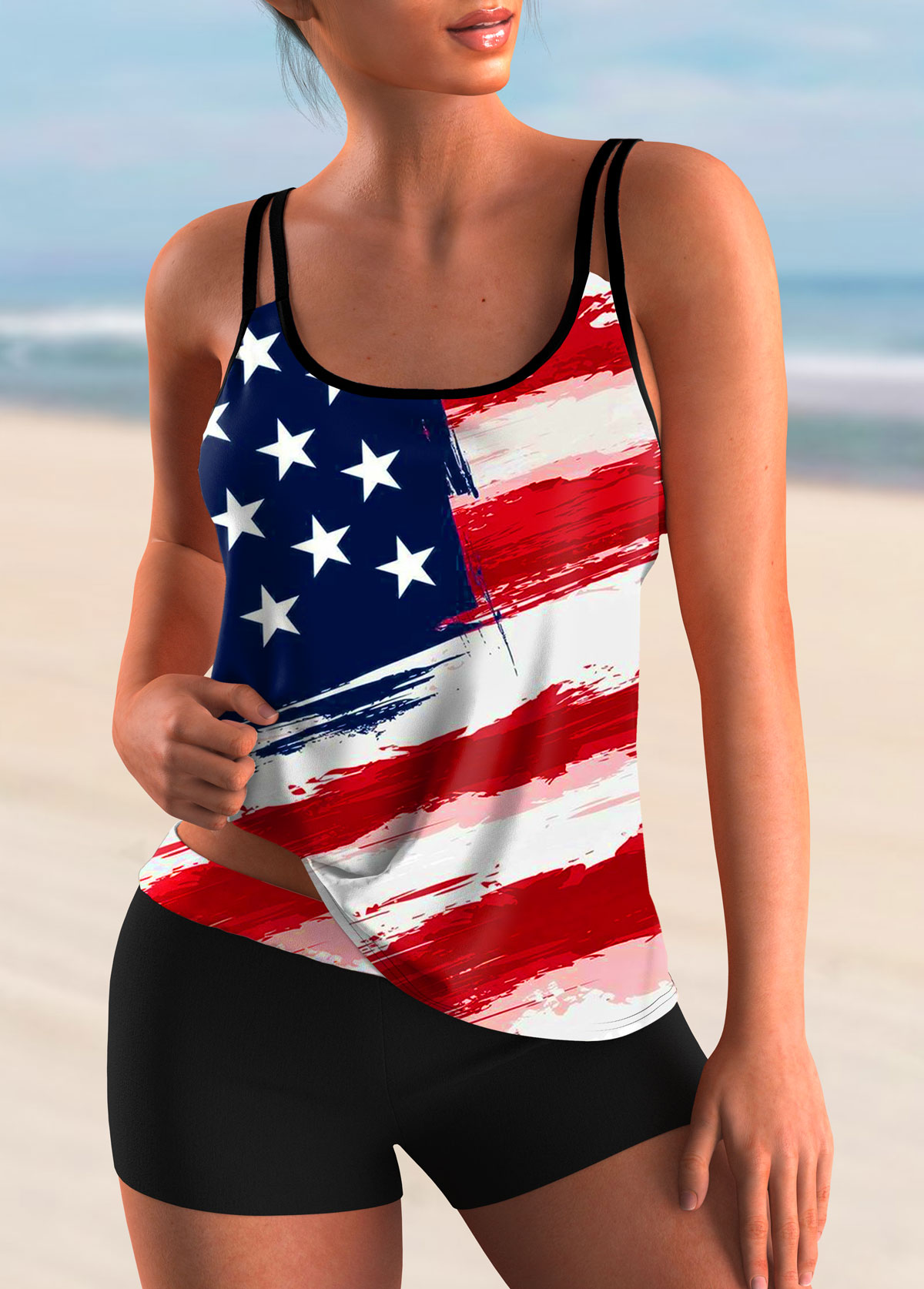ROTITA Spaghetti Strap American Flag Print Tankini Set