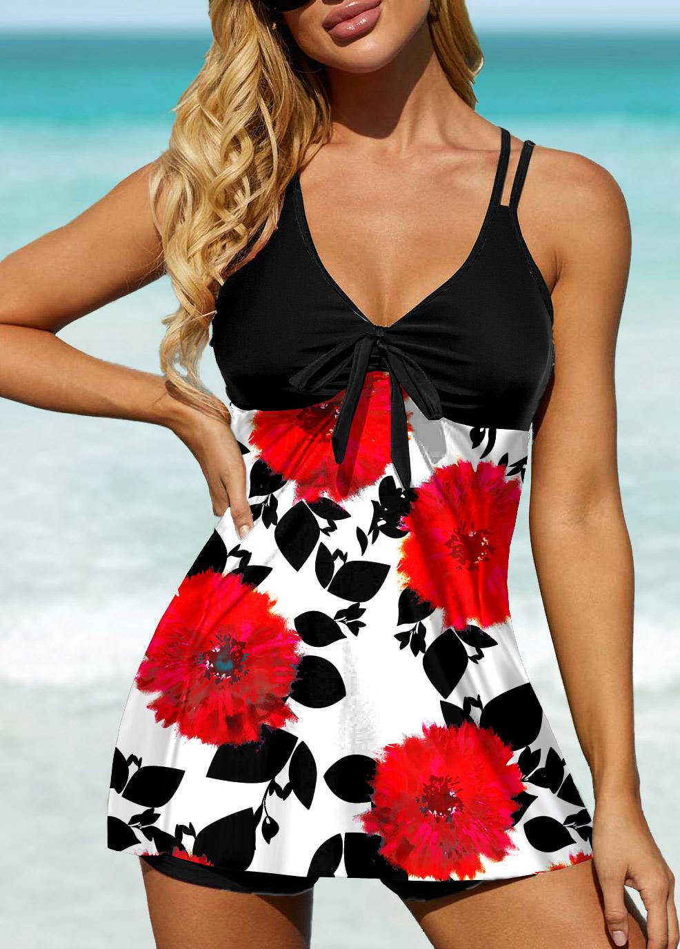 ROTITA Bowknot Detail Floral Print Swimdress and Shorts