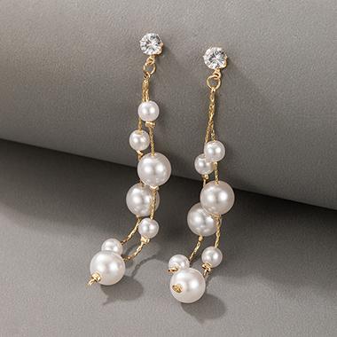 2.8 Inch Pearl Detail Metal Earring Set