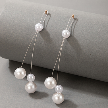3.7 Inch Pearl Detail Earring Set