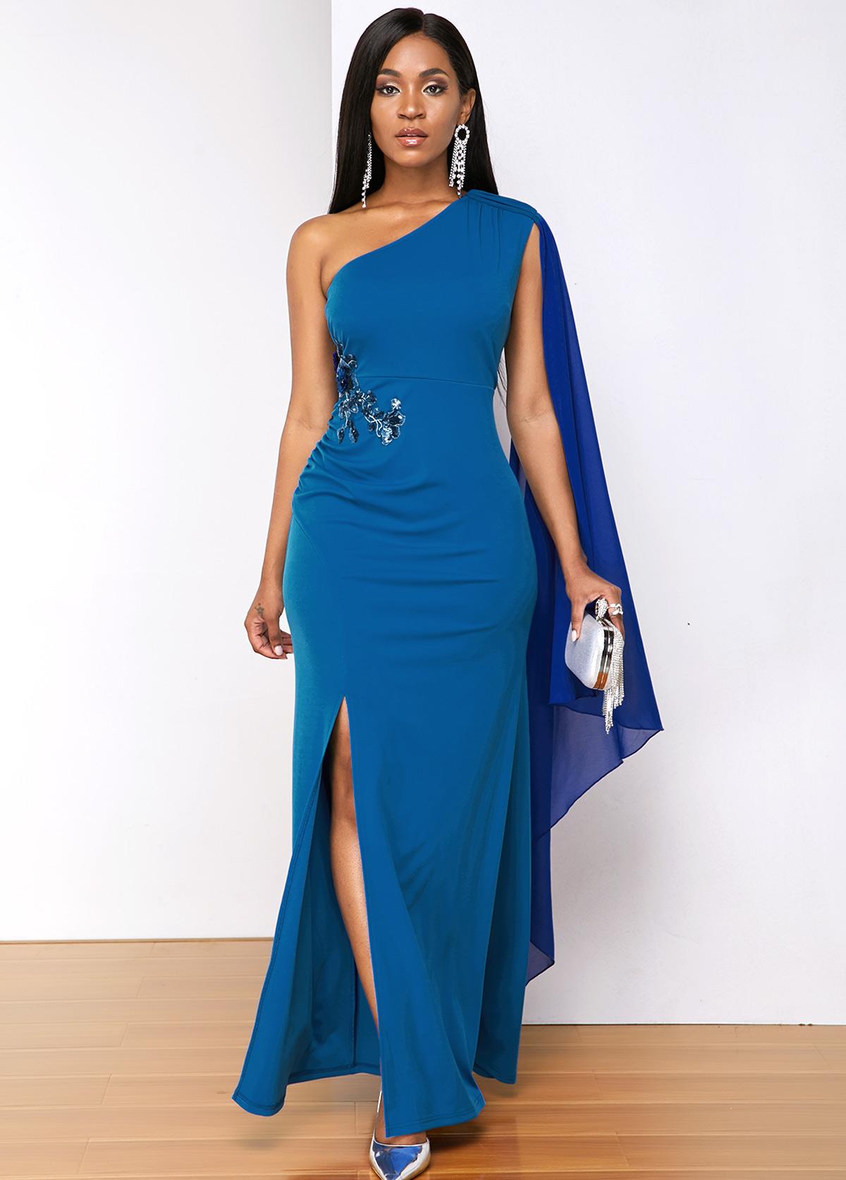 ROTITA Blue Sequin Detail Side Slit Maxi Dress