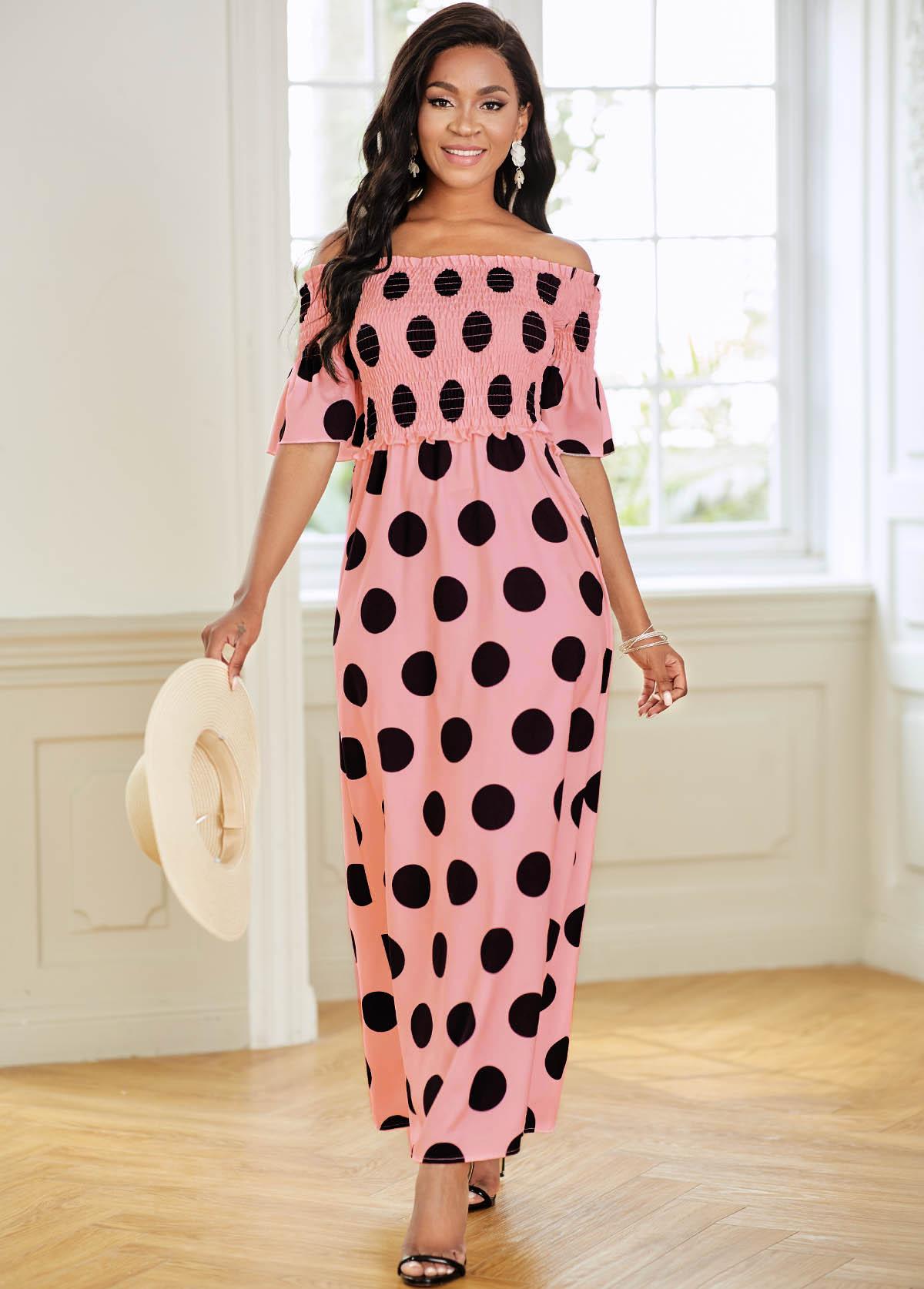 Polka Dot Off Shoulder Smocked Dress